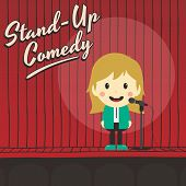 female stand up comedian cartoon