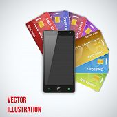 Credit Card And Cell Phone. Vector Illustration.