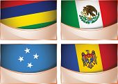 Flags illustration, Mauritius, Mexico, Micronesia, Moldova