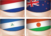 Flags illustration, Netherlands, New Zealand, Nicaragua, Nig