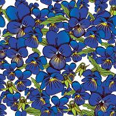 Flowers Of Pansies And Leaves Seamless Blue Background Patterns Seamlessly Tiling. Vector