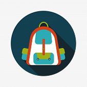 Backpack Flat Icon With Long Shadow