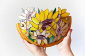 Handmade Stained Glass Lamp With Colorful Sunflowers In Hands