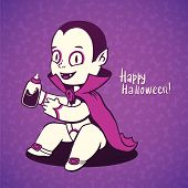 Cute baby vampire Dracula young,nipple bottle with fresh blood