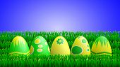 Yellow Green Easter Eggs In Grass