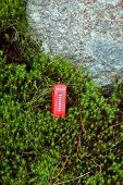 picture of phone-booth  - Red phone booth in the green moss - JPG