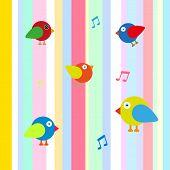 happy bird color background vector