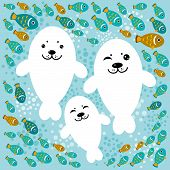 Happy Family Of White Seals And Fish On A Blue Background. Vector