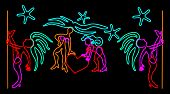 Night club signboard design with neon stylized dancer figures