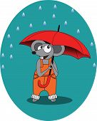 Mouse in rain autumn with umbrella - vector illustration, eps