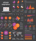Red infographics and business graph and circle vector elements