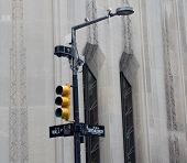 picture of broadway  - Cameras and other security at the intersection of Wall Street and Broadway - JPG