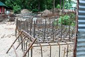 stock photo of rod  - iron reinforcement rods in the background - JPG