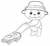 Teddy bear lawnmower, contours