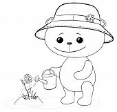 Teddy bear watering a flower, contour