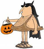Caveman dressed up as a bat