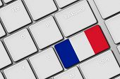 Computer Keyboard With France Flag Button