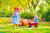 picture of baby cowboy  - Two happy children at pumpkin patch during Halloween cute curly little girl in a cowboy hat pushing a wheel barrow with a funny baby boy on a sunny autumn day on a farm - JPG