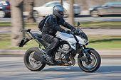 Fast-moving Biker