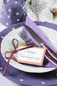 Happy Thanksgiving Fine Dining Table Place Setting In Purple, White And Aqua Theme Colors. Close Up.