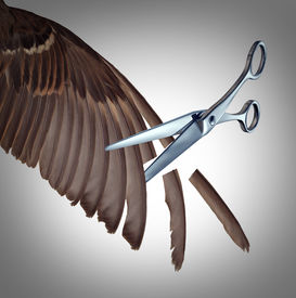 pic of slavery  - Losing freedom concept as a restriction metaphor to clip the wings of somebody with the feathers of a bird wing being cut by scissors as a symbol of limits and creative limitations imposed by others as a loss in opportunity - JPG
