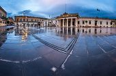 Fountain And Saint George Square On The Rainy Morning, Valletta, Malta