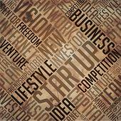 Startup - Grunge Word Collage in brown.
