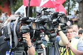 Television Cameras Of Operators On Oppositional Meeting, One Camera With A St.george's Ribbon