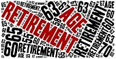picture of retirement  - Word cloud illustration related to retirement age change - JPG