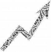 Rouble Currency Growth. Word Cloud Illustration.