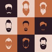 stock photo of rogue  - Beards and Mustaches set with flat design - JPG