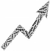 Sugar Commodity Price Growth. Word Cloud Illustration.