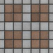 Brown-Gray Square Brick Pavers. Seamless Texture.