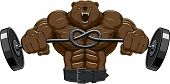 stock photo of barbell  - Vector illustration of an angry bear with a barbell - JPG