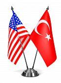 USA and Turkey - Miniature Flags.
