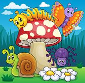 image of toadstools  - Toadstool with animals on meadow  - JPG