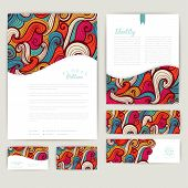 Set of wave abstract cards, invitations. Vector wave tileable pa