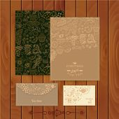 Vector coffee and tea branding Design. Set of floral cards. Swee