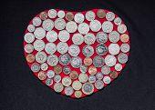 Coins on Heart