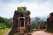 stock photo of champa  - My Son temples in cloudy weather Vietnam - JPG