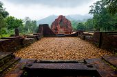 Myson Temple In Perspective Cloudy Weather Vietnam