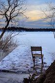 Folding chair on frozen lake