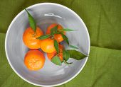 image of clementine-orange  - Clementine tangerines with green leaves on green fabric in a grey bowl - JPG