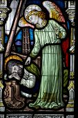 Angel and sleeping Fisherman stained glass