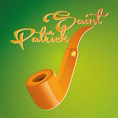 an isolated golden pipe with text on a colored background