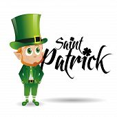a happy irish elf and text for patrick's day