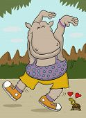 Little turtle in love with sporty hippo