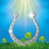 a colored background with a horseshoe for patrick's day