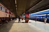Jaipur, India - January 3, 2015: Passenger On Platforms At The Railway Station Of Jaipur