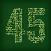 Numbers made of tracks printed circuit boards